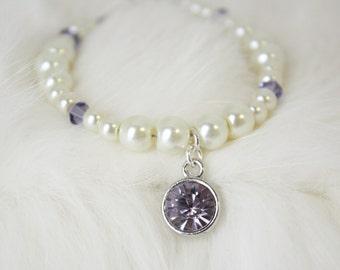 Custom Flower Girl Bracelet - Purple Swarovski Charm Bracelet - Flower Girl Gift - Lavender Jewelry - Layla
