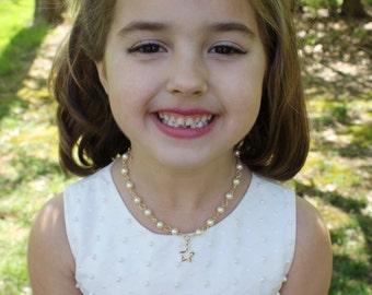 Flower Girl Necklace - Star Charm - Flower Girl Gift - Pearl Necklace - Gold Flower Girl Jewelry - Annabelle