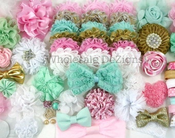 Gold, Pink, Aqua & White Headband DIY Kit - Headband Kit / Station - 30 Headbands Plus Hair Clips Hair Ties - 84 Pieces Shabby Flowers