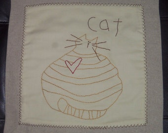 """Candle/Table Mat~12"""" Square~Hand Embroidered Mustard Cat"""