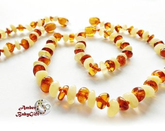 """SALE->Set of Amber Necklace 12.5""""- 13.0"""" and Bracelet /Anklet 5.5""""- 5.9"""" -  Cognac and milky Amber Beads - Baby Gift - Screw clasp, 23R"""
