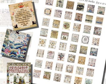 Victorian Sampler Printables of Needlework and Embroidery, SCRABBLE TILE SIZE (.75 x .83 Inches or 19 x 21 mm), 48 Samplers Included