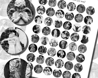 Tombstone Angels Printables, ONE INCH CIRCLES (25 mm), with 1/2 inch (13mm) and 3/4 inch (20mm) circles also included