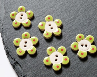 Set Of 5 Ceramic Buttons Flower Shape Green With A Red Spot On Each Petal