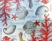 Decoupage Napkins RED CORAL Ocean Seashells Starfish Michel Paper Napkins 2pcs Bev Size Napkins Crafts Red White Shells Beach Crafts