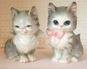 Josef Originals Kitty Cat Kitten Figurines Adorable! - Set of 2 - Cute Kitsch Kitschy Mid Century Figures Statues | Made in Japan