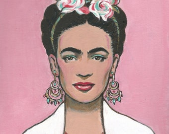 FRIDA KAHLO Original Painting on Canvas Mexican Folk Art Frida Painting Pink Home Decor