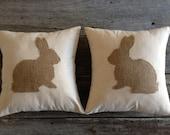 Osenburg burlap rabbit pillow cover, rabbit pillow cover, spring pillow cover,Easter pillow cover