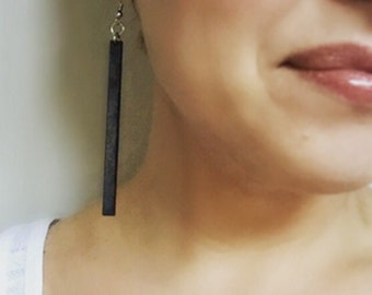 Wood Matchstick Long Earrings from Black Stained Maple
