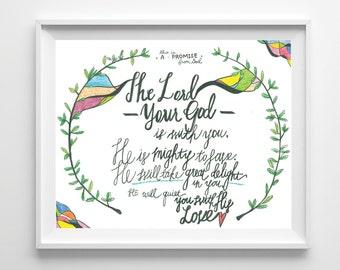 Promise, Inspirational, Bible Art, Christian Art, Scripture, Colorful, Dorm Decor, Bedroom Art, Calligraphy