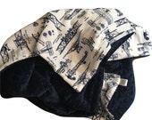 Personalized Minky Baby Blanket, Boy Airplane Blanket, Navy Blue Baby Blanket, Baby Boy Airplane Blanket, Size 29 x 36 in