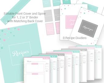 Recipe Binder, Recipe Binder Kit Printables, Personalized Recipe Book, Recipe Organizer, Kitchen Organization