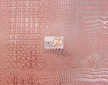 Metallic African Crocodile Embossed Vinyl Fabric - PINK/SILVER - Sold By The Yard Upholstery 2 Tone Faux Fake Leather