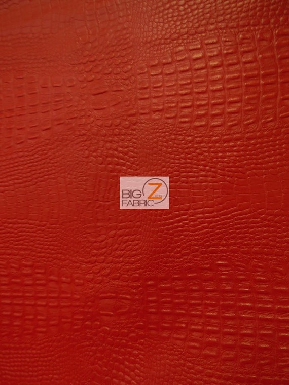 Alligator Embossed Vinyl Faux Leather Pleather Fabric Red