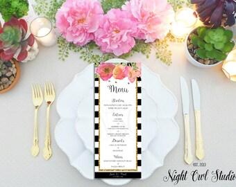 Menu Card, Black and White Stripe, Gold Glitter, Floral, Wedding Menu Cards, Bridal Shower Menu Card