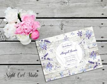 Shabby Chic Invitation-Lavender Garden-Cottage Chic-Purple Flowers-Wood-Printable-Invite