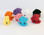 Sqeedee (Solid Colors) - Miniature Squid Amigurumi Doll Plush with Optional Key Chain or Phone Charm Attachment