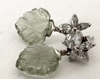 Green Amethyst and CZ Earrings  by KarenWhalenDesigns