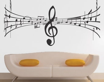 Music Wall Decal Studio Music Symbol Art Mural, Music Room Sticker, Decals  For Music Part 67