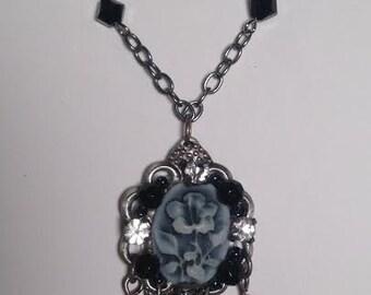 Grey Flower Pendant Necklace