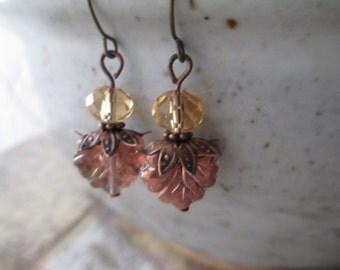 Glass Leaf Earrings  Czech Glass Earrings Crystal Earrings  Dangle Earrings, Leaf Earrings, Small Earrings Drop Earrings Earrings Under 10