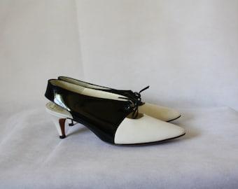 Black & White Spectator Heels / Vintage Slingback Heels / 1960's Patent Pumps / Marquise High Heels 7/7.5