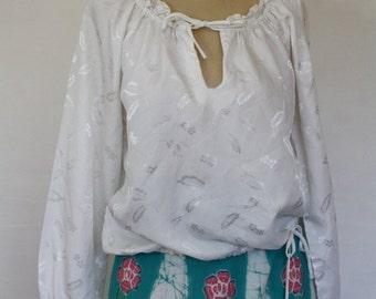 Sale Ruffle Blouse / Vintage Blouse / 1970's Blouse / Bohemian Blouse / 1970's Blouse / Peasant Blouse  M/L
