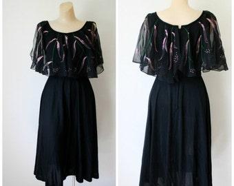 Sale Disco Dress / Little Black Dress / 1970's Dress / Vintage Dress / Party Dress / Handpainted Dress / Flutter Dress S