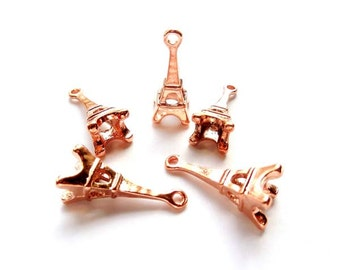 5 Rose Gold Plated Eiffel Tower Charms - 30-3