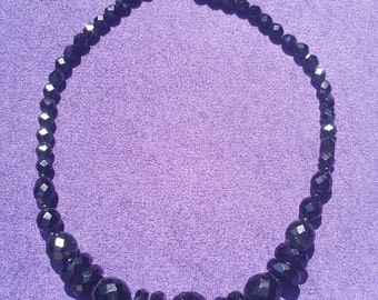 Chunky Jet Black cut glass deco bead necklace c 1930's