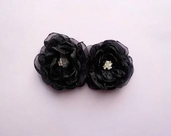 Midnight Black Organza Flower Hair Clips