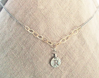Personalized R initial necklace, R letter coin jewelry, mixed-metal silver gold filled chains necklace with charm, unique r monogram gifts