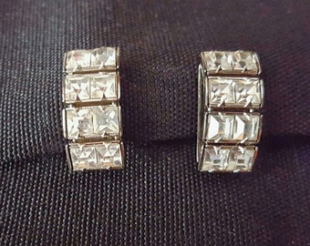 Vintage Clear Rhinestone Earrings, 1950-60s Estate, Screw Back, Bride Wedding Prom Special Occassion Something Old