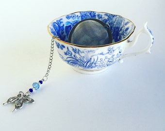 Tea Infuser Butterfly Charm ~Tea Time~ Mesh Tea Ball // Blue Beads
