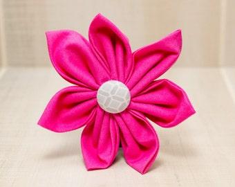 Dog Collar Flower, Fabric Flower, Dog Collar, Pink with Grey Button