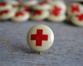 Vintage Red Cross Pin   Pinback Button   WWI   WWII   Red Cross Collectible   Repurposing   Vintage Craft