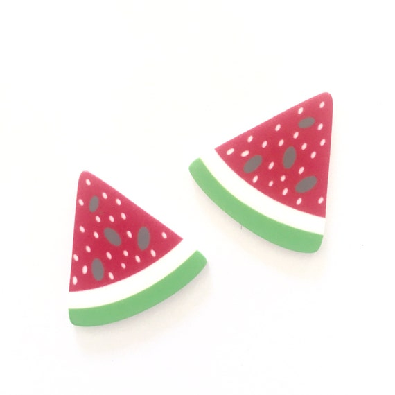 Laser Cut Supplies-2 Piece.27 mm Watermelon Slice Charms-Laser Cut Acrylic-Jewelry Supplies-Little Laser Lab.Online Laser Cutting Australia
