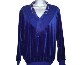 Vintage 80's royal blue velour ladies sweater
