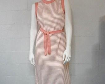 Vintage 60's 70's  peach white striped tie waist sleeveless plus sized retro dress