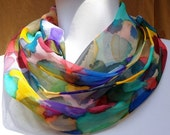 Silk scarf chiffon multi Handpainted, unique gift under 50 woman, made in the Hudson Valley, one of a kind art to wear, designer accessory