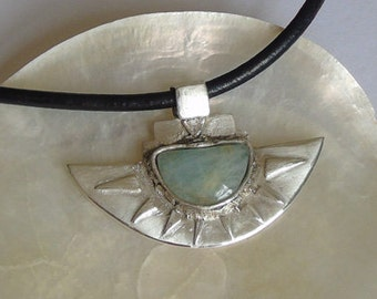 Silver Clay Necklace. Precious Metal Clay Necklace. Silver Necklace with African Opal.