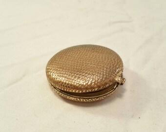 Vintage Revlon gold metal makeup compact case