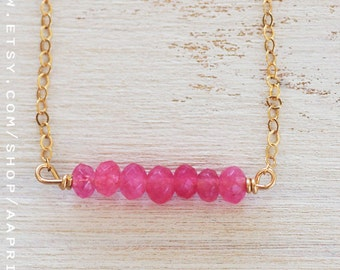 Ruby Necklace, bar necklace, pink necklace, July birthstone necklace, gold filled, wire wrapped solitaire necklace, layering necklace