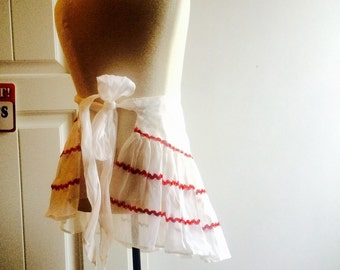 Vintage hostess apron, sheer apron, ruffles snd frills, white with red frills