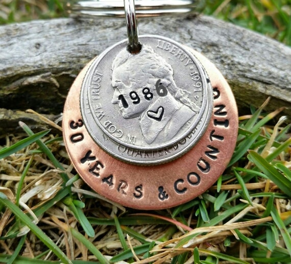 Ideas For 30th Wedding Anniversary Gifts: 30 Year Anniversary Keychain 30th Anniversary By TiffysLove