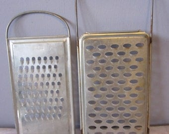 2 Vintage 1950s Cromefa made in DRR Hand Held Double Handle Cheese Grater/Slicers Garlic citrus ginger cheese veggies - perfect for display