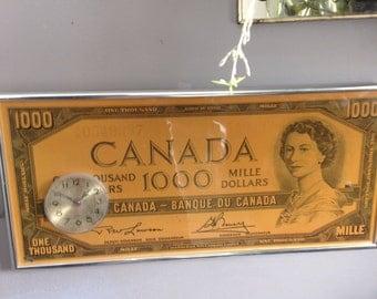 One Thousand Dollar Bill Clock - Canadian 1000 Dollar Bill Wall Clock