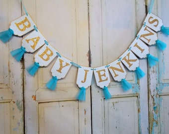 Custom Baby Shower Banner, Aqua, Turquoise and Gold Embossed Banner with Tulle,