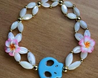 Sugar Skull and Flower Pearl Bracelet