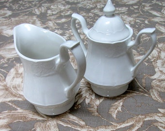 English Earthenware Cream and Sugar Set, White